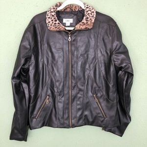 Faux Leather Jacket with Animal Print Collar Large